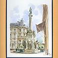 """Collection Chambéry - La fontaine des Elephants """"Les 4 sans culs"""" - Aquarelle 24x30 - 140 € - VENDU"""